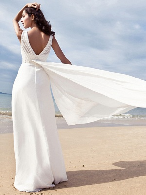 Sheath \ Column Wedding Dresses V Neck Floor Length Chiffon Regular Straps Simple Beach Plus Size_2