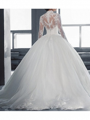 Ball Gown Wedding Dresses High Neck Court Train Tulle Long Sleeve Glamorous Vintage See-Through Backless Illusion Sleeve_4