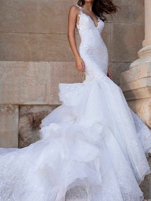 Mermaid \ Trumpet V Neck Court Train Polyester Sleeveless Country Plus Size Wedding Dresses_1