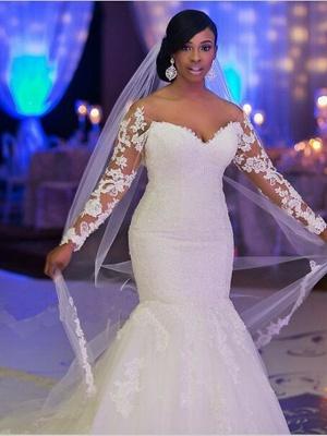 Mermaid \ Trumpet Wedding Dresses Scoop Neck Court Train Organza Long Sleeve Sexy Wedding Dress in Color_4