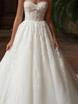Ball Gown Wedding Dresses Strapless Sweep \ Brush Train Lace Tulle Strapless Formal Plus Size_2