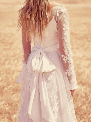 A-Line Jewel Neck Sweep \ Brush Train Lace Long Sleeve Beach Illusion Sleeve Wedding Dresses_3