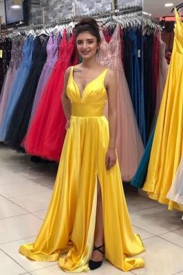 ZY139 Evening Dresses Plain Yellow Long Evening Dress With V Neckline_1