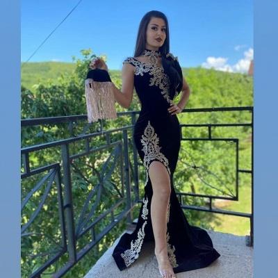ZY096 Elegant Evening Dresses Long Black | Prom Dresses With Lace_4