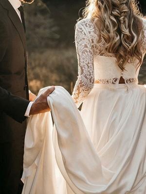 A-Line Wedding Dresses Jewel Neck Sweep \ Brush Train Chiffon Lace Long Sleeve Beach_2