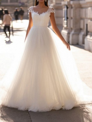 A-Line Wedding Dresses V Neck Floor Length Polyester Sleeveless Country Illusion Detail Plus Size_1
