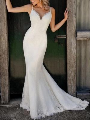 Mermaid \ Trumpet Wedding Dresses V Neck Sweep \ Brush Train Lace Satin Spaghetti Strap Plus Size_1