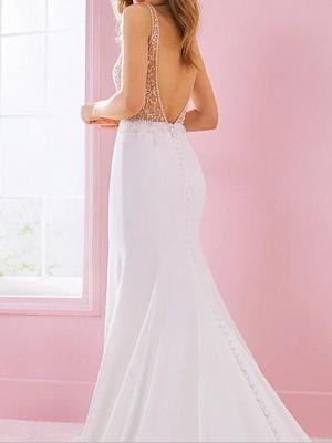 Mermaid \ Trumpet Wedding Dresses V Neck Court Train Satin Regular Straps_2