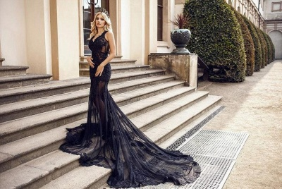 ZY105 Modern Evening Dresses Long Black | Evening Fashion With Lace_2