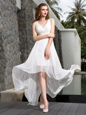 A-Line Wedding Dresses V Neck Asymmetrical Georgette Regular Straps Formal Simple Casual Plus Size_2