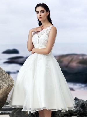 A-Line Wedding Dresses Bateau Neck Knee Length Organza Regular Straps Formal Casual Little White Dress Illusion Detail Backless_9