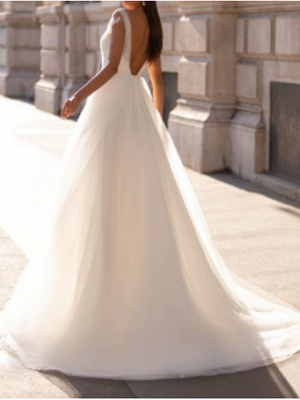 A-Line Wedding Dresses V Neck Floor Length Polyester Sleeveless Country Illusion Detail Plus Size_3