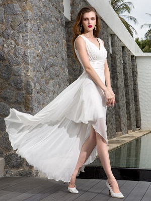 A-Line Wedding Dresses V Neck Asymmetrical Georgette Regular Straps Formal Simple Casual Plus Size_4