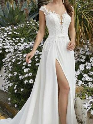 A-Line Wedding Dresses V Neck Sweep \ Brush Train Chiffon Lace Sleeveless Beach Sexy_3