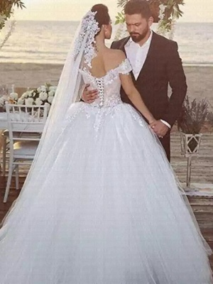 Ball Gown Off Shoulder Chapel Train Lace Tulle Strapless Beautiful Back Wedding Dresses_2