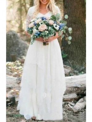 A-Line Wedding Dresses V Neck Floor Length Lace Tulle Half Sleeve Country Illusion Sleeve_2