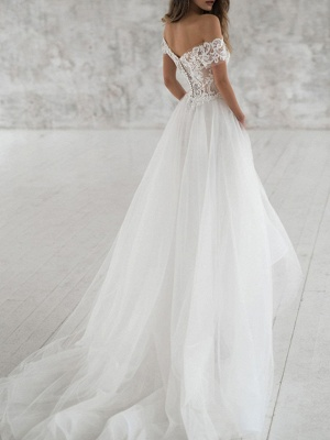 A-Line Wedding Dresses Off Shoulder Sweep \ Brush Train Lace Tulle Short Sleeve Beach Boho Sexy See-Through_3