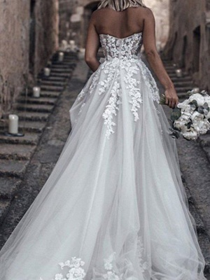 A-Line Wedding Dresses Strapless Sweep \ Brush Train Lace Tulle Sleeveless Sexy_3