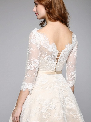 A-Line Wedding Dresses Bateau Neck Ankle Length Lace Over Satin 3\4 Length Sleeve Casual Boho See-Through Cute Illusion Sleeve_9