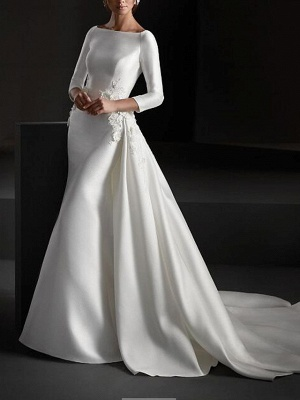 A-Line Wedding Dresses Jewel Neck Sweep \ Brush Train Stretch Satin Long Sleeve Country Plus Size_1