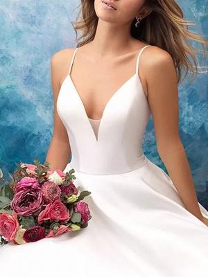 A-Line Wedding Dresses V Neck Sweep \ Brush Train Satin Sleeveless Vintage Plus Size_2
