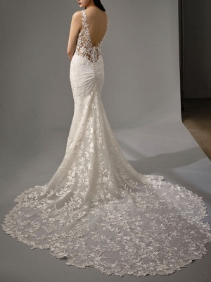 A-Line V Neck Sweep \ Brush Train Lace Georgette Sleeveless Sexy Backless Wedding Dresses_4