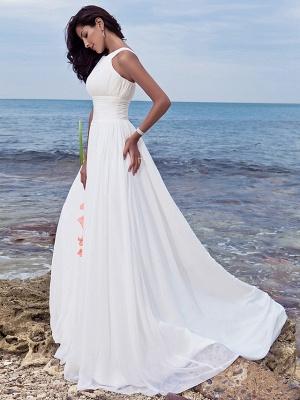 A-Line Wedding Dresses Jewel Neck Sweep \ Brush Train Chiffon Regular Straps Formal Beach Plus Size_6