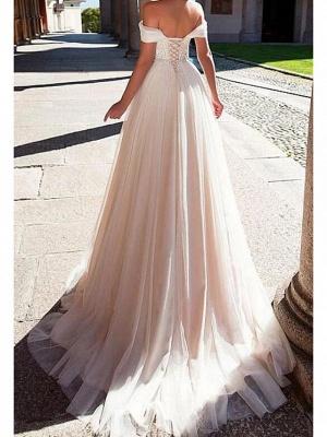 A-Line Wedding Dresses Off Shoulder Sweep \ Brush Train Lace Tulle Short Sleeve Formal_2