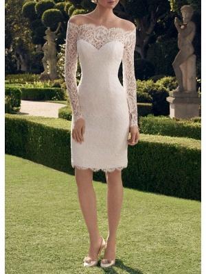 Sheath \ Column Wedding Dresses Off Shoulder Short \ Mini Lace Long Sleeve Vintage See-Through Illusion Sleeve_1