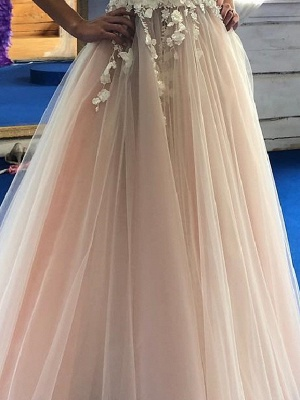 A-Line Wedding Dresses Jewel Neck Floor Length Lace Tulle Sleeveless Sexy Wedding Dress in Color See-Through_3
