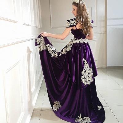 ZY097 Purple Evening Dresses Long Cheap   Velvet Prom Dresses Online_3