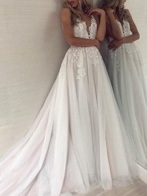 A-Line Wedding Dresses V Neck Sweep \ Brush Train Lace Tulle Sleeveless Sexy Backless_1