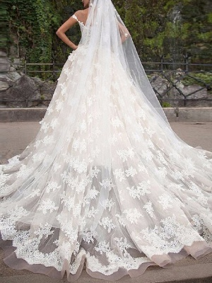 Ball Gown Off Shoulder Court Train Polyester Cap Sleeve Country Plus Size Wedding Dresses_2