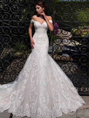 Mermaid \ Trumpet Off Shoulder Court Train Lace Tulle Short Sleeve Sexy Backless Wedding Dresses_1