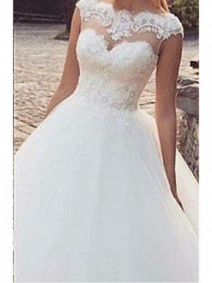 A-Line Wedding Dresses Jewel Neck Sweep \ Brush Train Tulle Regular Straps_2
