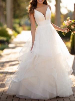 Ball Gown Wedding Dresses V Neck Court Train Tulle Charmeuse Spaghetti Strap Formal Simple Little White Dress_1