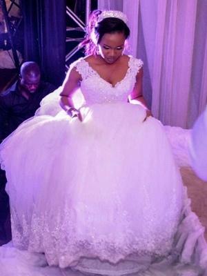 A-Line Wedding Dresses V Neck Watteau Train Organza Sleeveless Sexy Wedding Dress in Color_3