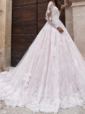 A-Line Jewel Neck Sweep \ Brush Train Lace Tulle Long Sleeve Country Sexy Wedding Dress in Color Illusion Sleeve Wedding Dresses_2