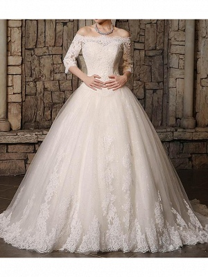 Ball Gown Off Shoulder Court Train Polyester 3\4 Length Sleeve Country Plus Size Wedding Dresses_1