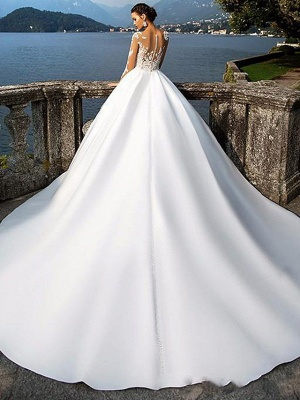 A-Line Wedding Dresses Jewel Neck Court Train Satin Long Sleeve Sexy Wedding Dress in Color_2