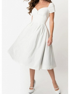 A-Line Wedding Dresses Sweetheart Neckline Knee Length Cotton Short Sleeve Simple Little White Dress_1