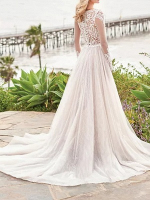 A-Line Wedding Dresses V Neck Sweep \ Brush Train Tulle Polyester Long Sleeve Country Beach Plus Size Illusion Sleeve_4