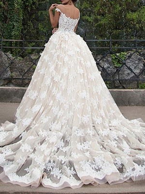 Ball Gown Off Shoulder Court Train Polyester Cap Sleeve Country Plus Size Wedding Dresses_3