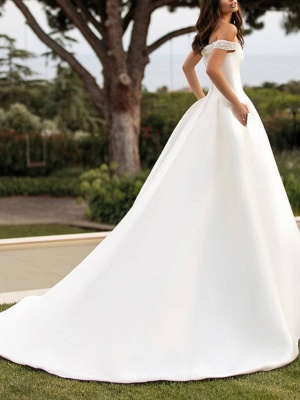 A-Line Wedding Dresses Off Shoulder Court Train Satin Sleeveless Simple_3