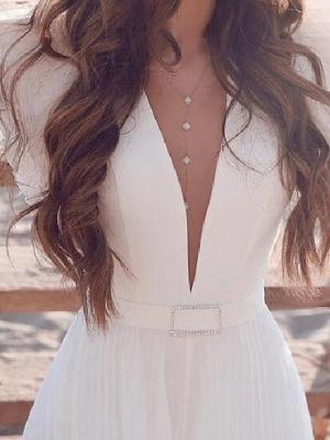 A-Line Wedding Dresses Plunging Neck Sweep \ Brush Train Chiffon Chiffon Over Satin Short Sleeve Country Beach Plus Size_3