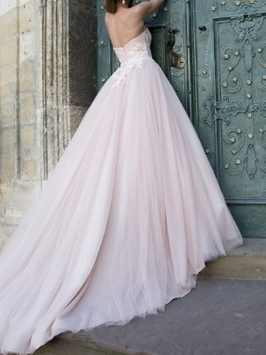 A-Line Wedding Dresses Strapless Sweep \ Brush Train Lace Taffeta Tulle Sleeveless Country Plus Size_2