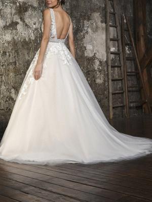 A-Line Wedding Dresses V Neck Sweep \ Brush Train Tulle Sleeveless Formal_2