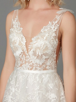 A-Line Wedding Dresses Plunging Neck Floor Length Lace Tulle Sleeveless See-Through_10