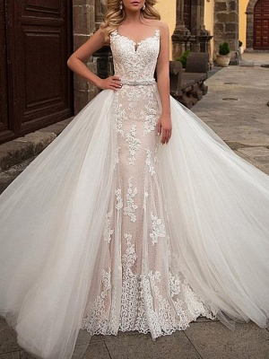 Mermaid \ Trumpet Jewel Neck Sweep \ Brush Train Detachable Lace Tulle Chiffon Over Satin Sleeveless Formal Sexy See-Through Wedding Dresses_1