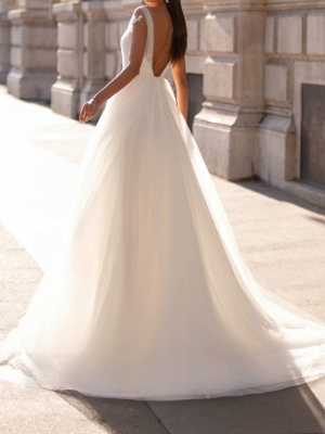 A-Line Wedding Dresses V Neck Sweep \ Brush Train Tulle Cap Sleeve Simple_3